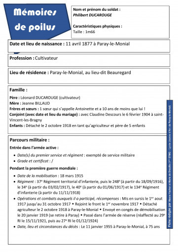 Fiche d identite philibert ducarouge